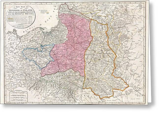 1794 Laurie And Whittle Map Of Poland And Lithuania After Second Partition Greeting Card