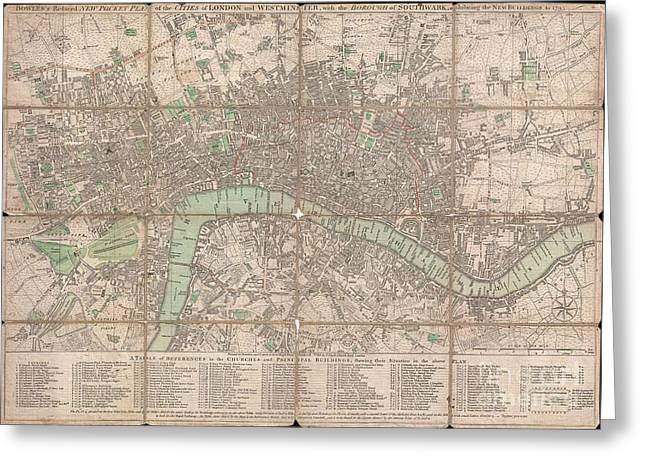 1795 Bowles Pocket Map Of London Greeting Card by Paul Fearn