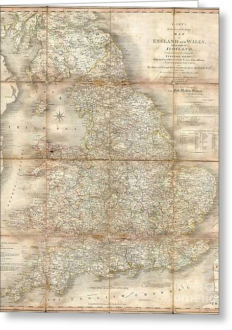 1796 Cary Folding Case Map Of England And Wales Greeting Card