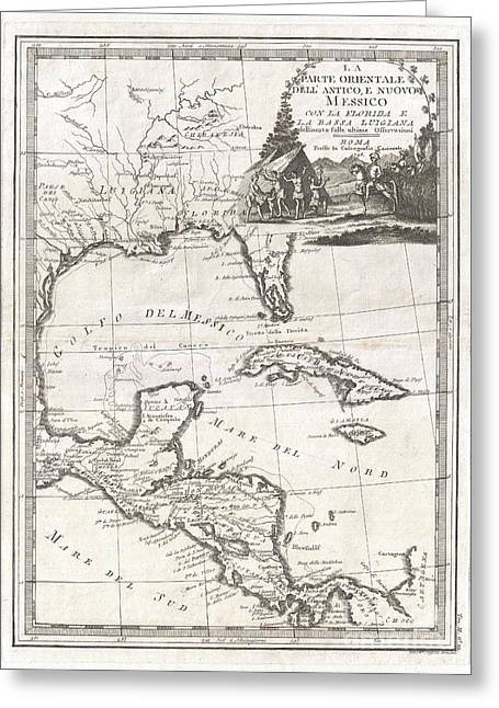1798 Cassini Map Of Florida Louisiana Cuba And Central America Greeting Card