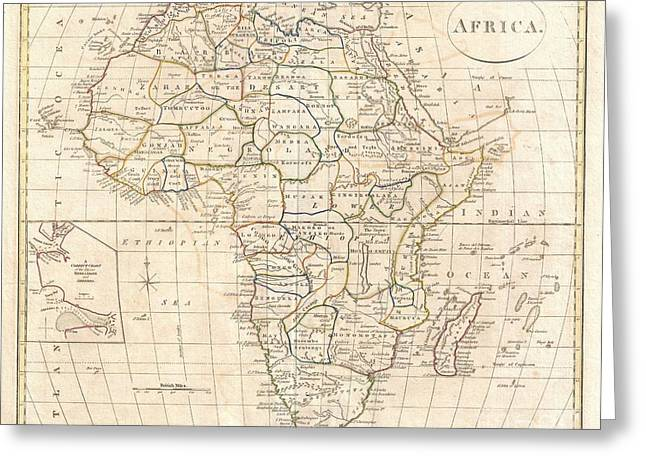 1799 Clement Cruttwell Map Of Africa  Greeting Card by Paul Fearn