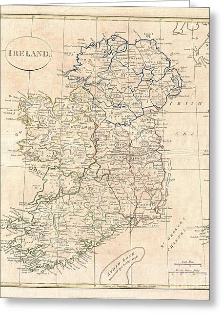 1799 Clement Cruttwell Map Of Ireland Greeting Card
