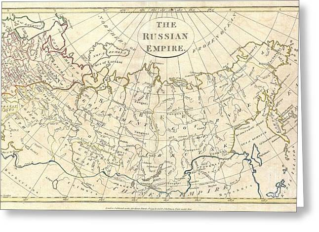 1799 Clement Cruttwell Map Of Russian Empire Greeting Card