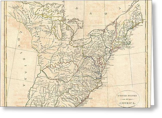 1799 Cruttwell Map Of The United States Of America Greeting Card by Paul Fearn
