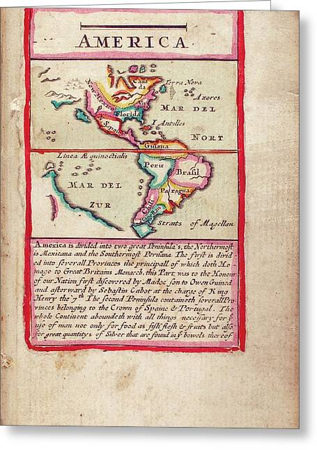17th Century Map Of America Greeting Card by Lawrence H. Slaughter Collection Of English Maps, Charts, Globes, Books And Atlases/new York Public Library