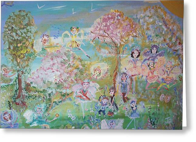 Greeting Card featuring the painting 18 Fairy Party In Fairyland by Judith Desrosiers