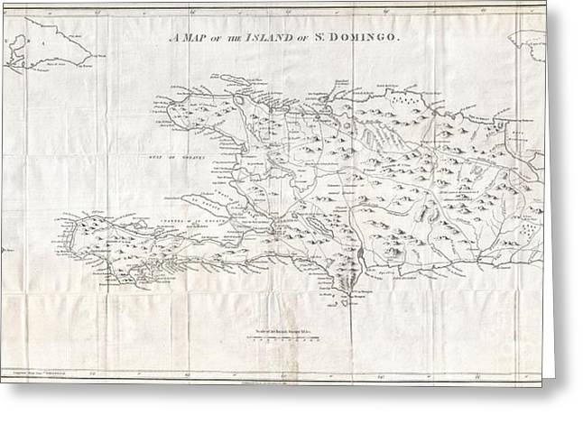 1800 Stockdale Map Of Hispaniola Or Santo Domingo West Indies Haiti Dominican Republic Greeting Card by Paul Fearn