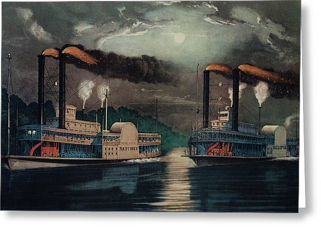 1800s 1860s Two Steamboats Midnight Greeting Card