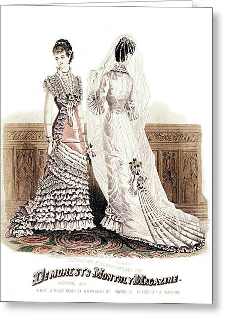 1800s 1870s December 1877 Fashion Plate Greeting Card