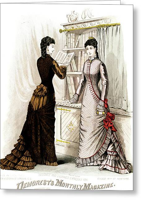 1800s 1870s Winter Dresses Fashion Greeting Card