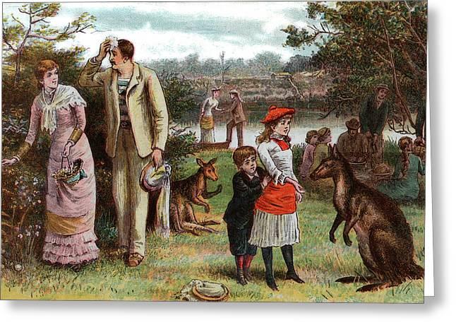 1800s 1880s 1881 Summer Picnic Scene Greeting Card