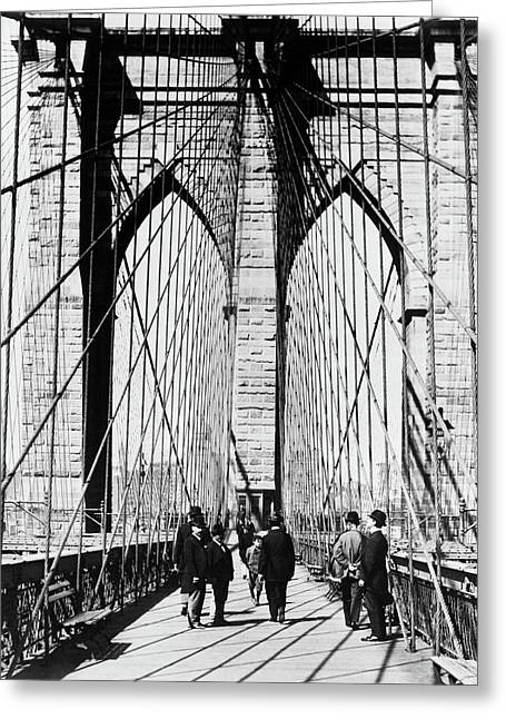 1800s 1880s Men Standing On Brooklyn Greeting Card