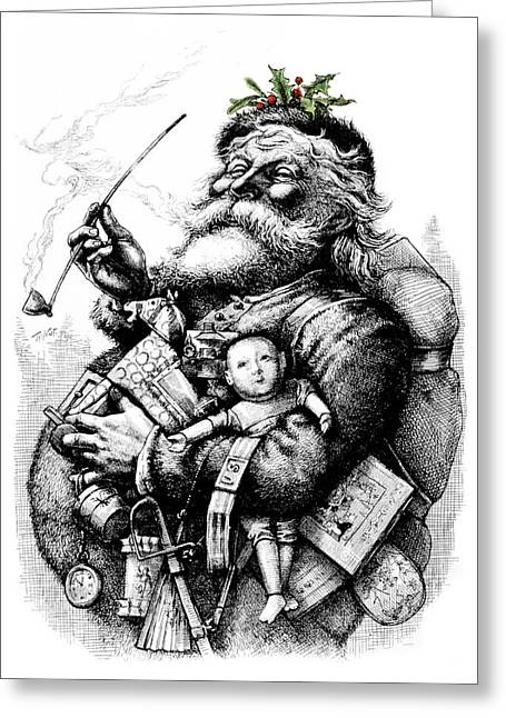 1800s 1881 Santa Holding Toys Pipe Greeting Card