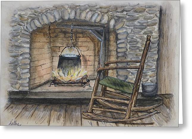 1800s Cozy Cooking .... Fire Place Greeting Card
