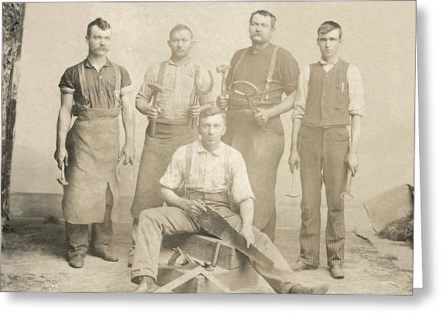 1800's Vintage Photo Of Blacksmiths Greeting Card