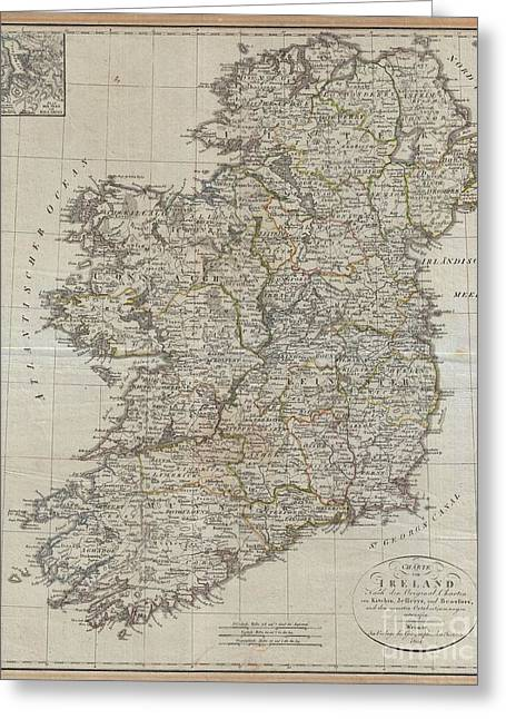 1804 Jeffreys And Kitchin Map Of Ireland Greeting Card by Paul Fearn