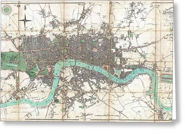1806 Mogg Pocket Or Case Map Of London Greeting Card by Paul Fearn
