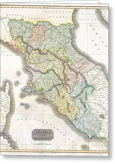 1814 Thomson Map Of Tuscany Greeting Card by Paul Fearn