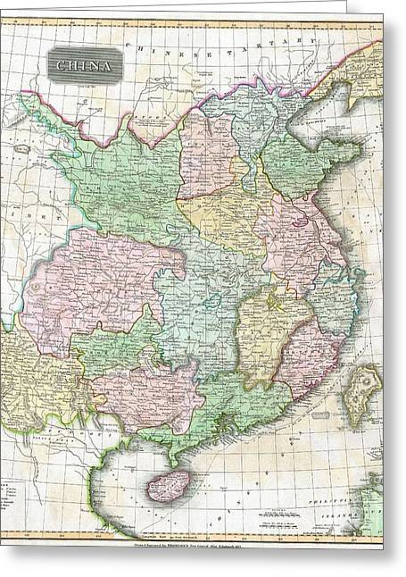 1815 Thomson Map Of China And Formosa Taiwan Greeting Card by Paul Fearn