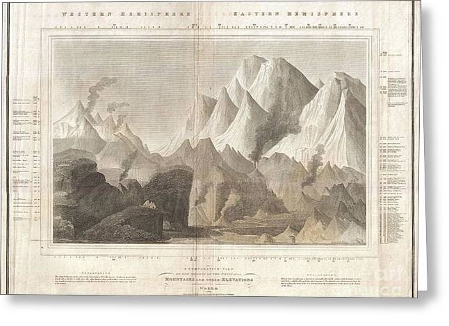 1817 Thomson Map Of The Comparative Heights Of The Worlds Great Mountains Greeting Card
