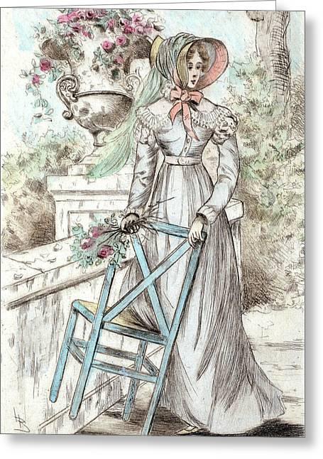 1817, Womens Fashion In Nineteenth-century Paris Greeting Card by Artokoloro