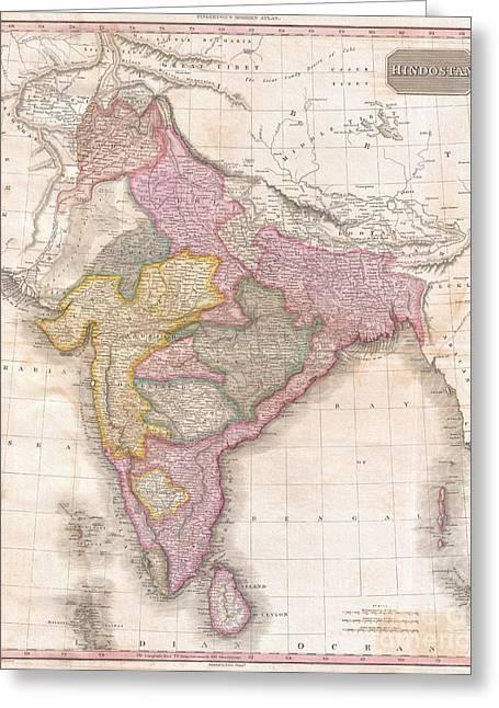 1818 Pinkerton Map Of India Pakistan Afghanistan Tibet Nepal Sri Lanka Greeting Card by Paul Fearn