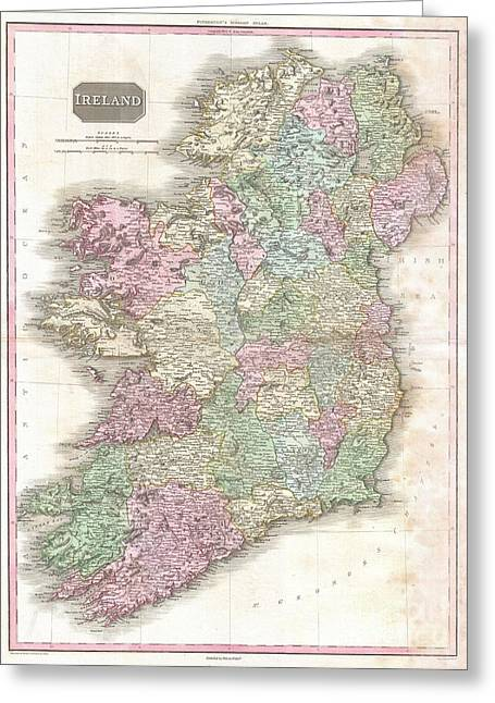 1818 Pinkerton Map Of Ireland  Greeting Card by Paul Fearn