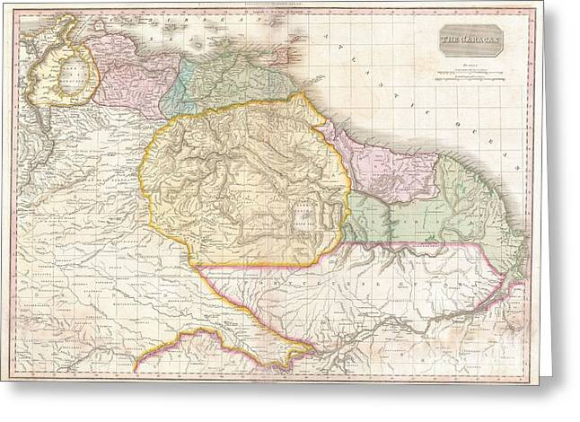 1818 Pinkerton Map Of Northeastern South America Greeting Card by Paul Fearn