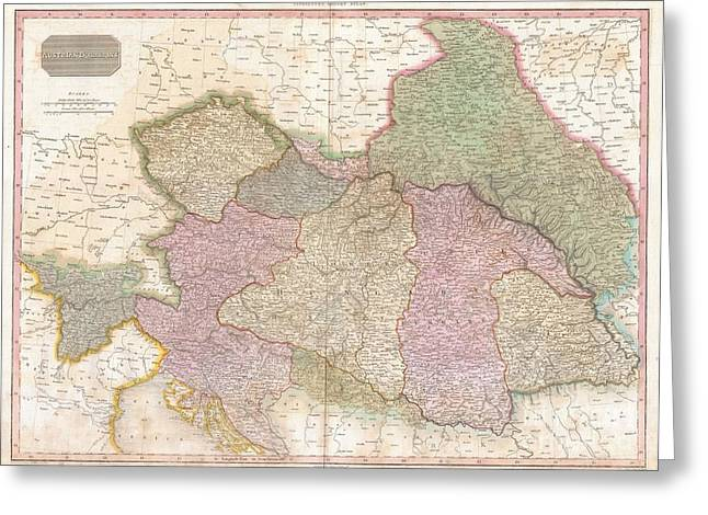 1818 Pinkerton Map Of The Austrian Empire Greeting Card