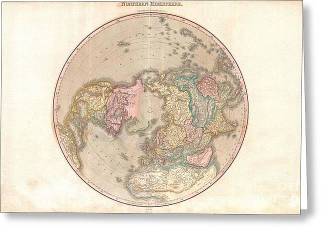 1818 Pinkerton Map Of The Northern Hemisphere  Greeting Card