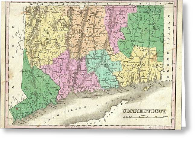 1827 Finley Map Of Connecticut Greeting Card