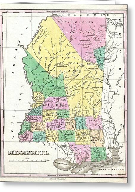 1827 Finley Map Of Mississippi Greeting Card by Paul Fearn