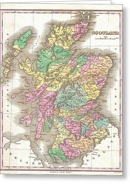 1827 Finley Map Of Scotland Greeting Card