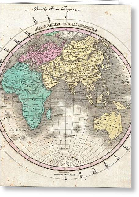 1827 Finley Map Of The Eastern Hemisphere  Greeting Card