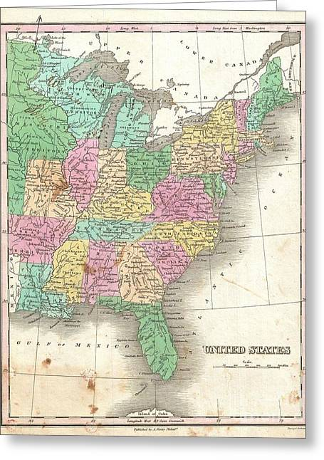 1827 Finley Map Of The United States Greeting Card