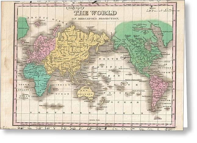 1827 Finley Map Of The World Greeting Card