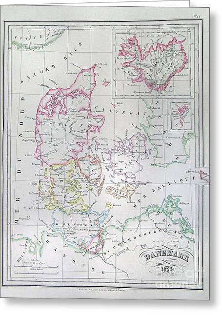 1833 Malte Brun Map Of Denmark  Iceland And Faeroe Islands  Greeting Card by Paul Fearn