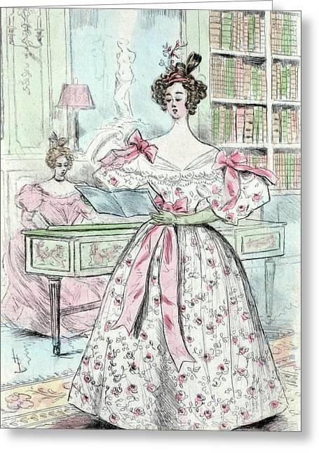 1835, Womens Fashion In Nineteenth-century Paris Greeting Card