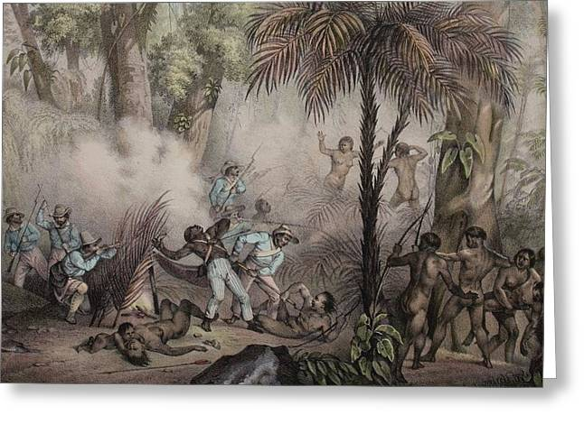 1836 Rugendas Brazil Indian Masacre Greeting Card