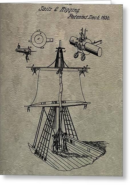 1836 Sailboat Patent Greeting Card