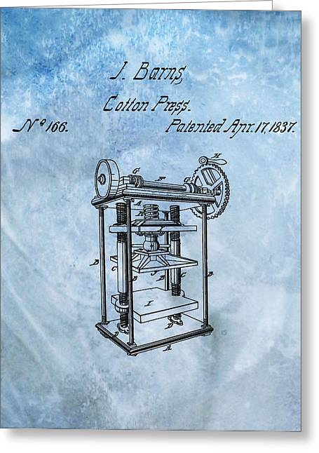 1837 Cotton Press Patent Greeting Card by Dan Sproul