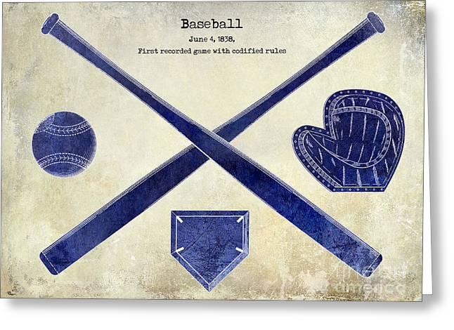 1838 Baseball Drawing 2 Tone Greeting Card by Jon Neidert