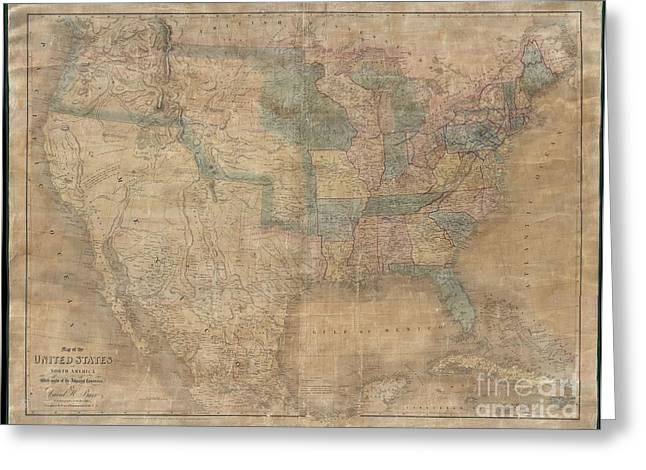 1839 Burr Wall Map Of The United States  Greeting Card by Paul Fearn