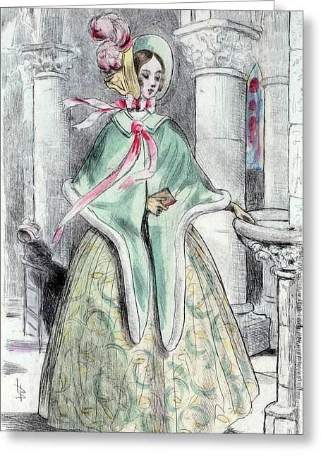 1839, Womens Fashion In Nineteenth-century Paris Greeting Card