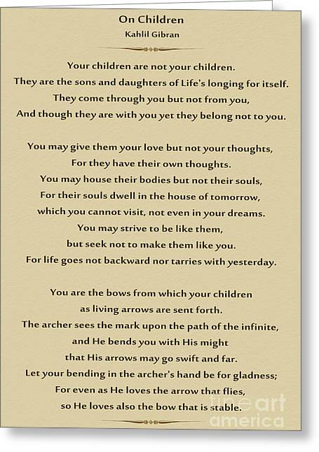 184- Kahlil Gibran - On Children Greeting Card