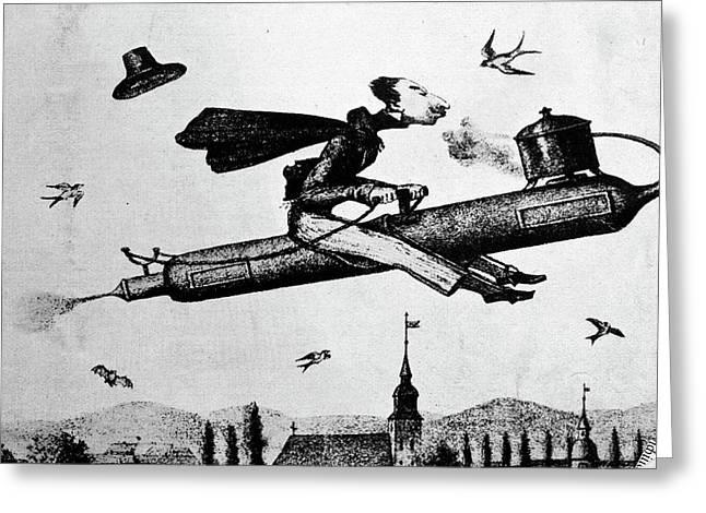 1840s 1800s Illustration Cartoon Of Man Greeting Card