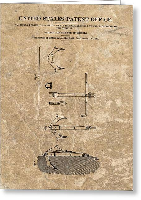 1842 Anchor Patent Greeting Card by Dan Sproul