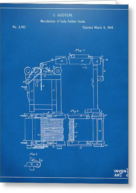1844 Charles Goodyear India Rubber Goods Patent Blueprint Greeting Card by Nikki Marie Smith