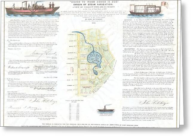 1846 Broadside Of The Collect Pond New York And Steam Boat  Five Points   Greeting Card