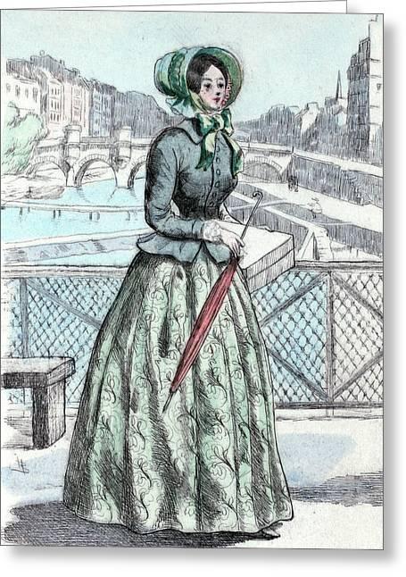 1846, Womens Fashion In Nineteenth-century Paris Greeting Card
